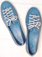 Перфорированные туфли кроссовки из натуральной кожи casual premium Wollen P029-2096-24 Blue White.