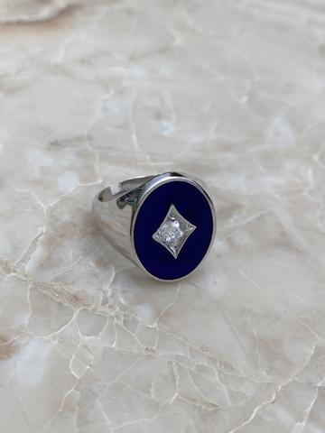Печатка из серебра с синей эмалью