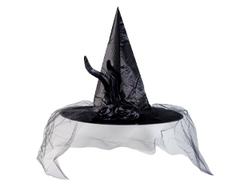 Шляпа ведьмы, перо, вуаль, черный, 42 см, 1 шт.