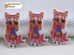 (9)Пластиковый кабошон Hairdorables Кет с ушками