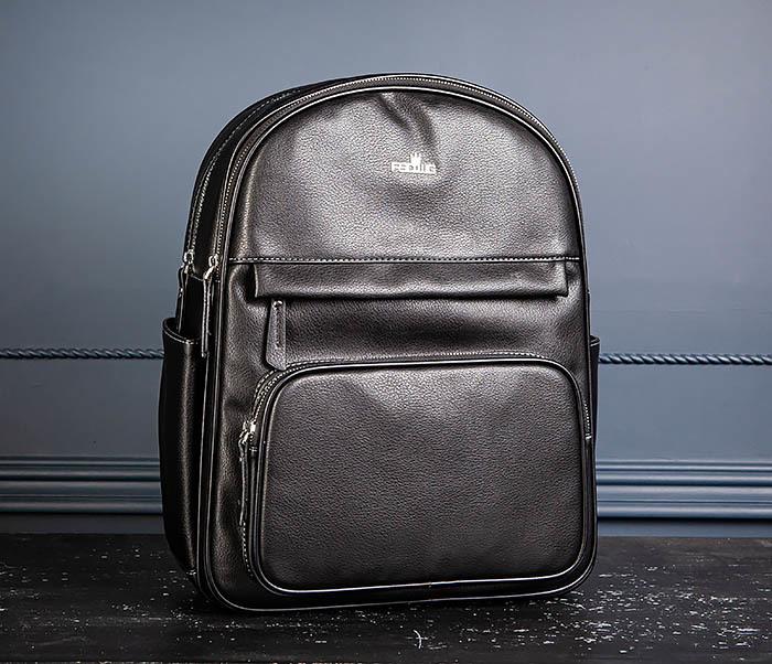 BAG523-1 Мужской рюкзак из гладкой черной кожи фото 04