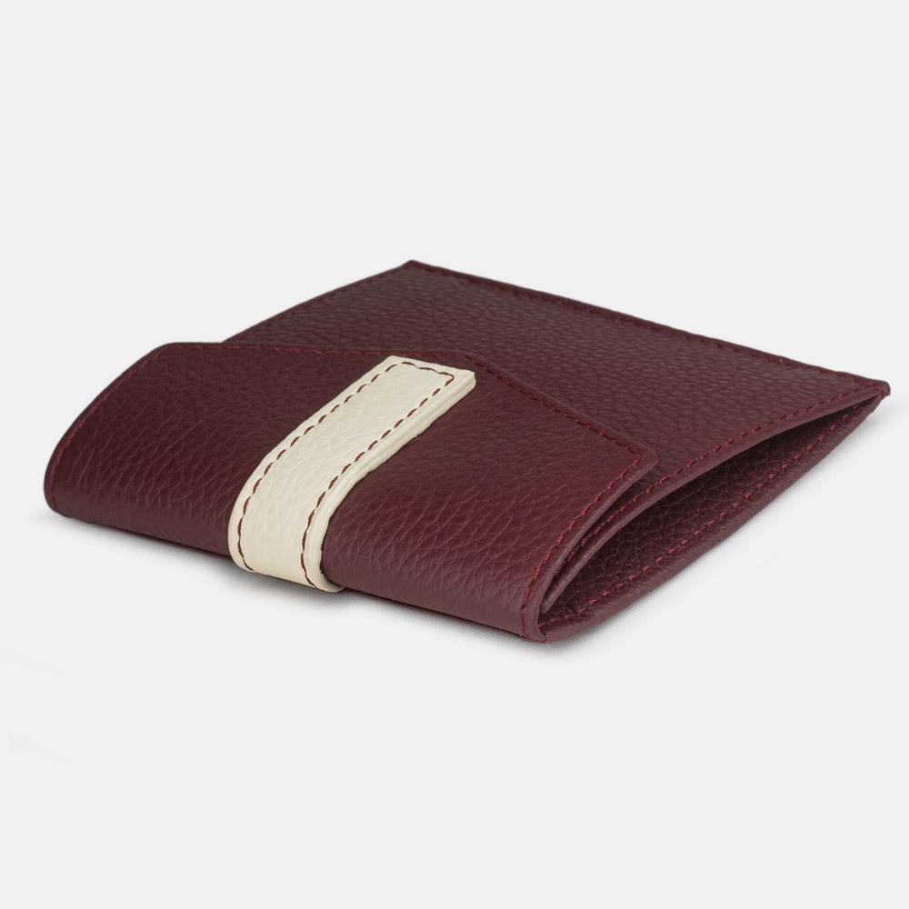 Картхолдер-кошелек Perle Bicolor из натуральной кожи теленка, бордового цвета