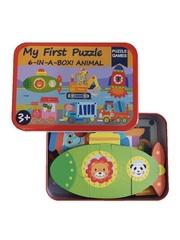 Развивающие деревянные пазлы в жестяной коробке Техника SHAPES PUZZLE 27 деталей, 6 видов для детей от 3-х лет