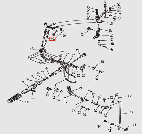 Трос газа в сборе для лодочного мотора T9.8 Sea-PRO (10-38)