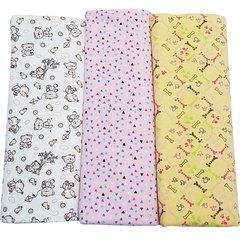 Папитто. Комплект трикотажных пеленок из футера для девочки 130х90 см, 3 шт. вид 1