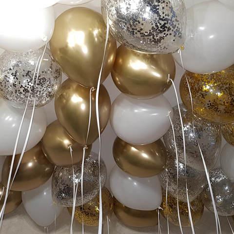 25 шаров 36 см золото хром, белый, конфетти серебро