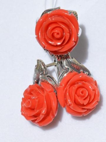 Роза (кольцо + серьги из серебра)