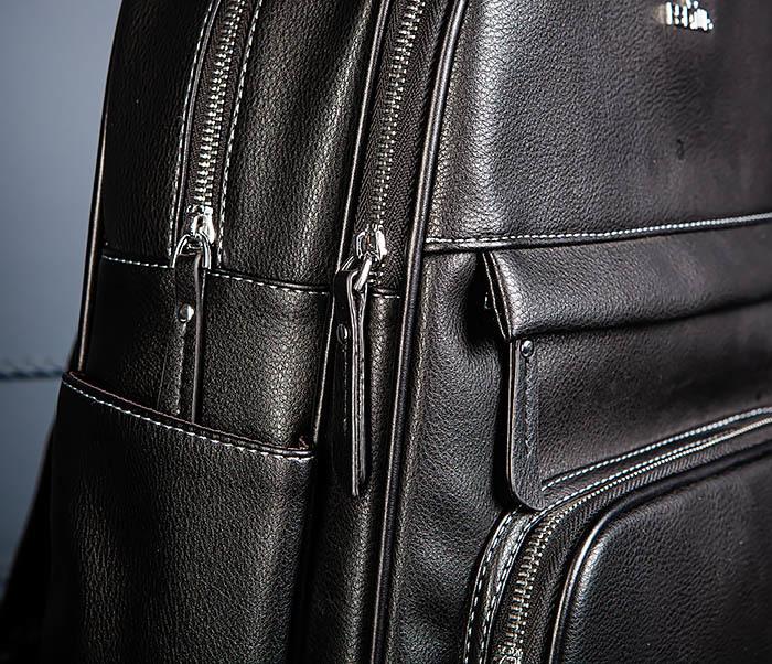 BAG523-1 Мужской рюкзак из гладкой черной кожи фото 05