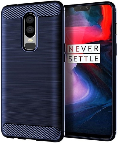 Чехол OnePlus 6 цвет Blue (синий), серия Carbon, Caseport