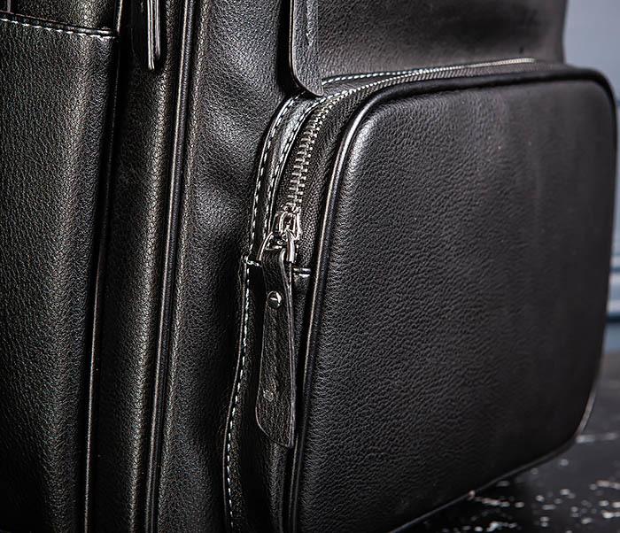 BAG523-1 Мужской рюкзак из гладкой черной кожи фото 06