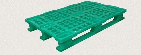 Поддон пластиковый перфорированный 1200x800x160 мм с полозьями, усиленный металлическим профилем. Цвет: Зеленый