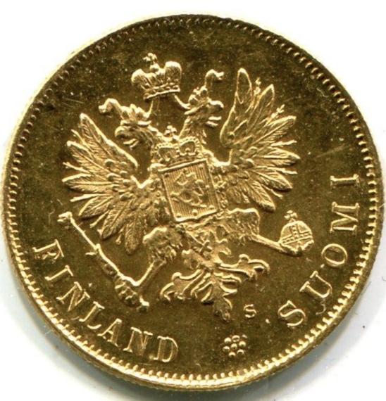 Российская Финляндия 10 марок 1913 года. Золото.