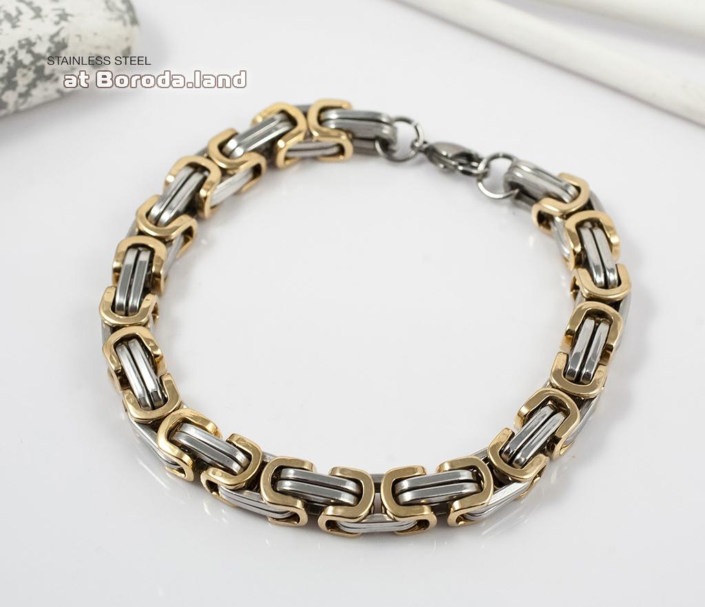 BM298 Стильный стальной браслет с золотыми и серебристыми звеньями (22 см)