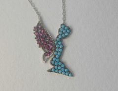 """Ожерелье """"Фея"""" с бирюзой и рубинами, 42 см"""