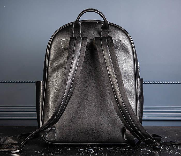 BAG523-1 Мужской рюкзак из гладкой черной кожи фото 07