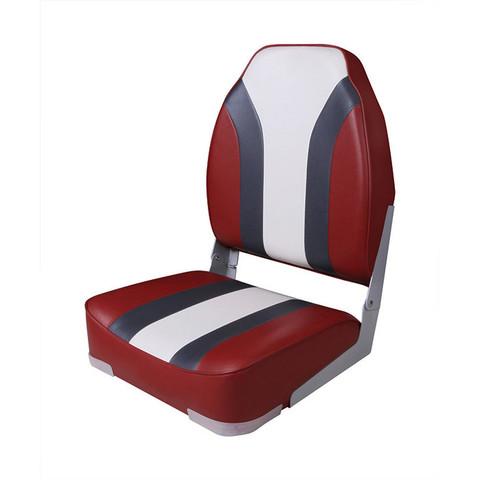 Сиденье мягкое складное High Back Rainbow Boat Seat, красно-белое
