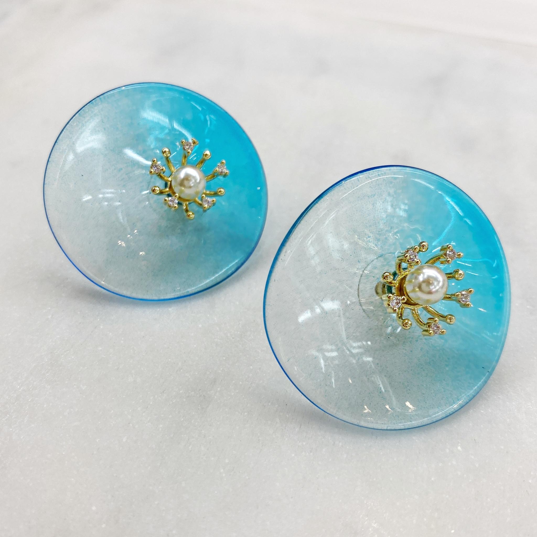 Серьги-кластеры из акрила Цветы (синий)