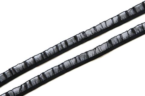 Резинка отделочная черная рюш с органзой 16 мм