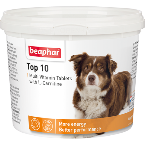 Кормовая добавка Top 10 с L-карнитином для собак 180 таб.