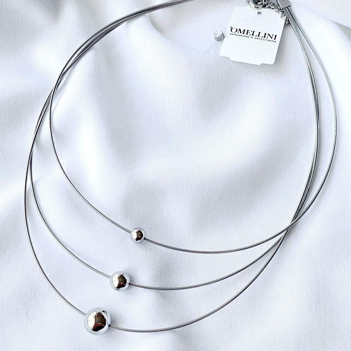 Колье На Основе-Пружинке с 3 Шармами-бусинами серебряный