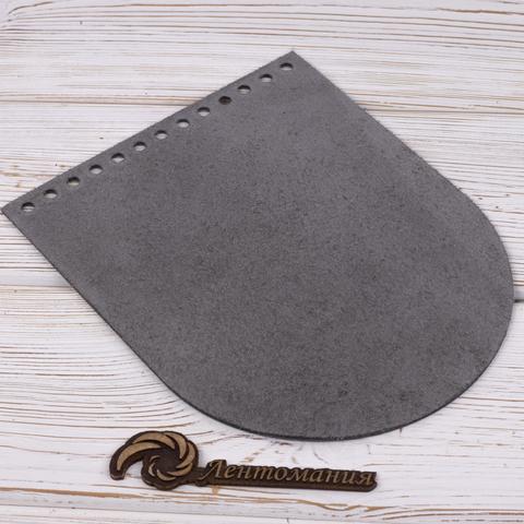 """Клапан для сумочки кожаный """"Серый"""" 19,5 см на 15,5 см"""