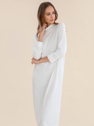 Женское платье молочного цвета из 100% шерсти - фото 3