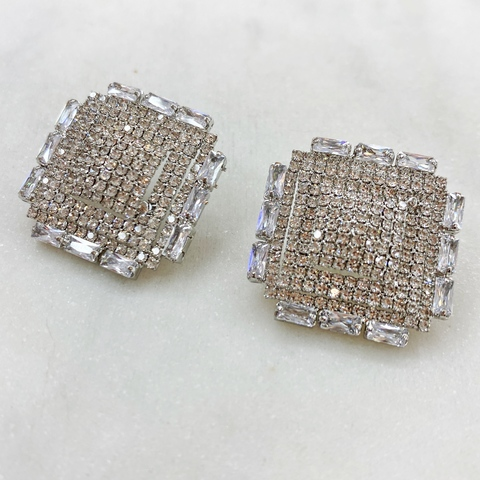 Серьги-кластеры Квадраты с кристаллами ш925 (серебристый)