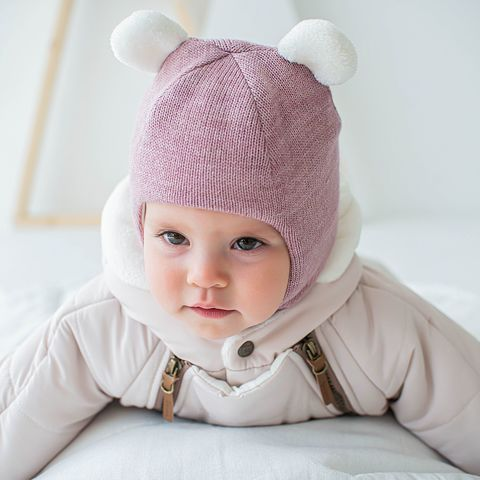 Winter balaclava with snap buttons 0+, Berry