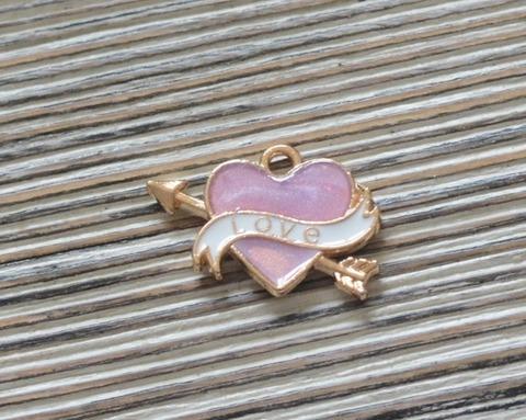 Подвеская эмалевая 1,5 см, сердце, розовый