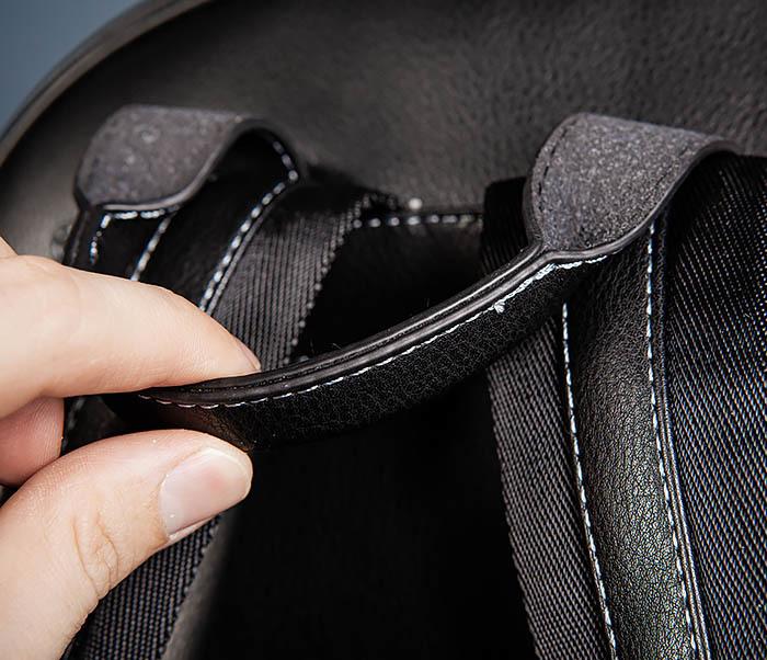 BAG523-1 Мужской рюкзак из гладкой черной кожи фото 10