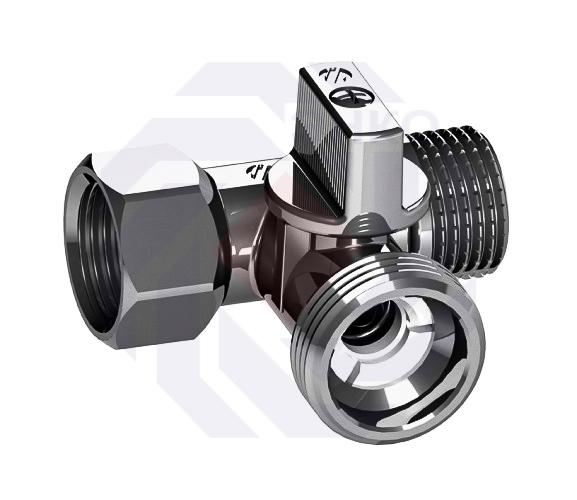 Кран для подключения сантехнических приборов угловой 3-проходной ARCO MINI TE ½