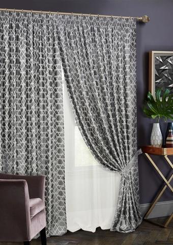 Комплект штор Алмаз с тюлем темно-серый