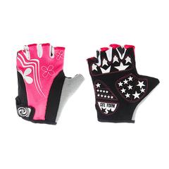 Велоперчатки JAFFSON SCG 47-0122 (чёрный/белый/розовый)