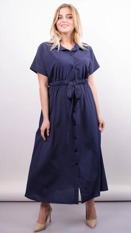 Сара. Стильное миди платье для полных. Горошки.