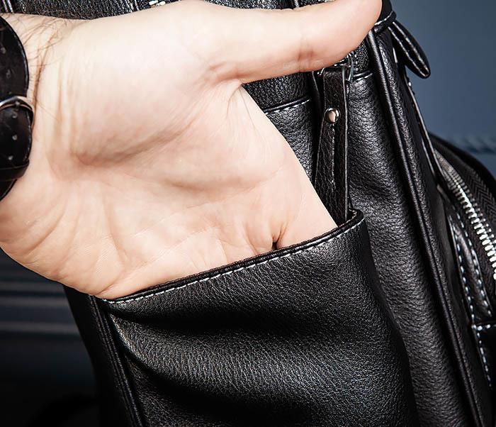 BAG523-1 Мужской рюкзак из гладкой черной кожи фото 11