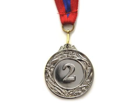 Медаль спортивная с лентой за 2 место. Диаметр 4,5 см: 450-2