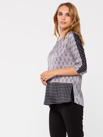 Фото серая блестящая блузка с короткими рукавами - Блуза Г648-339 (1)