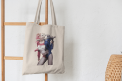 Сумка-шоппер с принтом Харли Квинн, Отряд самоубийц (Harley Quinn, Suicide Squad, Марго Робби) бежевая 008
