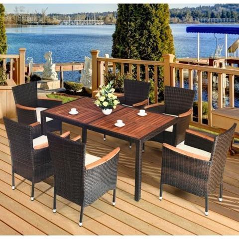 Комплект плетеной мебели AFM-460B 150x90 Brown (6+1) МРК