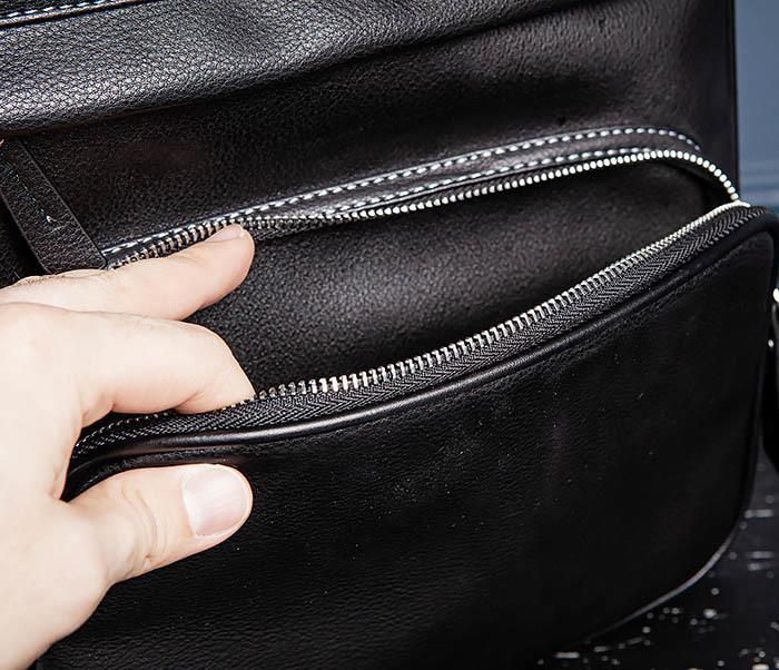 BAG523-1 Мужской рюкзак из гладкой черной кожи фото 12