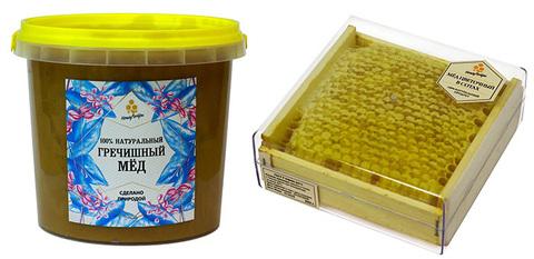 Комплект натурального меда: гречишный мед (1400 грамм) и сотовый мед (350 грамм)