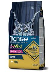 Monge Cat BWild Low Grain Сухой корм для взрослых кошек из мяса зайца, низкозерновой