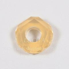 Бусина акриловая для пандоры, рондель с огранкой, цвет - светлый опалово-персиковый, 14х5 мм