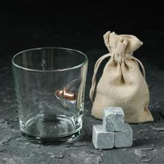 Набор стакан с пулей и камни для виски