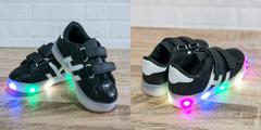 Обувь дет. № 4 Кроссовки Полосатые Светящиеся Черные