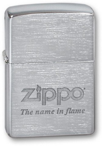 Зажигалка Zippo Name in flame с покрытием Brushed Chrome, латунь/сталь, серебристая, матовая