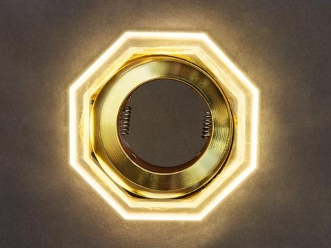 Встраиваемый светильник GP-8031-3W-GO Золото+Диодная подсветка
