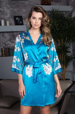Бирюзовый шелковый халат Mia Mia (100% шелк)