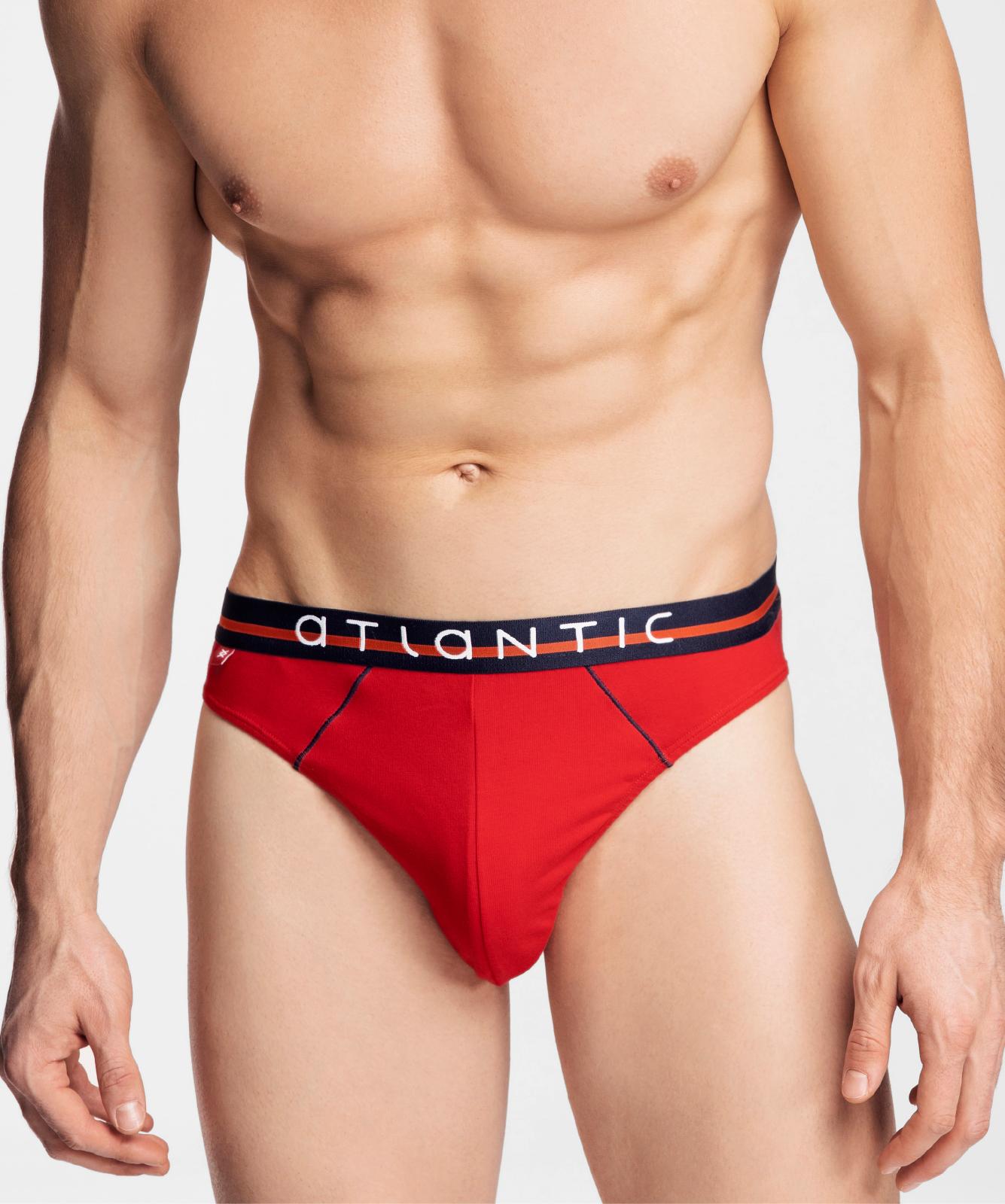 Мужские трусы слипы спорт Atlantic, набор 3 шт., хлопок, красные + темно-синие + деним, 3MP-083