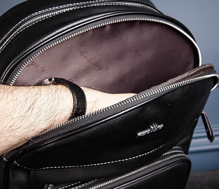 BAG523-1 Мужской рюкзак из гладкой черной кожи фото 14